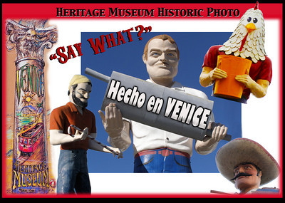 "The Mighty Muffler Men - born in Venice?!  Yes, it's true.  These wonderful nationwide roadside giants were first made by a Venice fiberglass craftsman back in 1962.  One of these guys used to stand at Lincoln Tire just north of CVS Pharmacy.  You've probably seen more around - the golfer on the 405, and the sombrero wearing hombre up in Malibu - and of course Chicken Boy.  For more info on these big beauties go to:  www.PaulTanck.com and www.ChickenBoy.com. Courtesy:  www.VeniceHeritageMuseum.org ""Envisioning a Venice History Museum"""