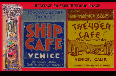 "Caption: Historic Image.  Venice History:  Matchbooks of the past tell of classic Venice hangouts gone by and their commercial art design can be a standout even at this diminutive level.  The wonderful Ship Cabrillo Cafe was an original feature of the 1905 Venice Pier and rebuilt after the 1920 fire.  Tommy Jacobs became the proprietor after Prohibition ceased in 1933.  The 49er western-themed bar was located in what is now the parking lot next to Danny's.  The neon sign may be glimpsed briefly in Orson Welles' noir classic ""Touch of Evil"" (1958).  Once again, thanks to the Venice Heritage Museum for sending in the following information.  V.P.  looks forward to learning more about our dear Venice.  The Venice Heritage Foundation welcomes your support and participation. For more information, visit http://www.veniceheritagemuseum.org/Site/HOME.html"