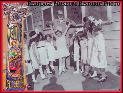 "Photo caption: A smile from ""The Doge"". Founder Abbot Kinney is seen here with young pupils likely from the Roy Randolph School of Dance (circa 1918). Classes and rather elaborate costumed recitals were held in the Dance Pavilion on the Venice Pier."