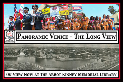 "(VENICE HERITAGE MUSEUM PHOTO 3)    Visit the Venice Public Library and check out the  ""Panoramic Venice - The Long View.""  Panoramic photography was popularized with the introduction of the Cirkut Camera in 1904, just in time for Abbot Kinney's Venice-of-America.  Resort communities were attractive destinations since the crowds and events offered ready subject opportunities.  Most popular?  Bathing beauty lineups, you bet.  Close to 20 old and new images of Venice are now on view at the Abbot Kinney Memorial Library. Thanks to the Venice Heritage Museum for sending in the following information."