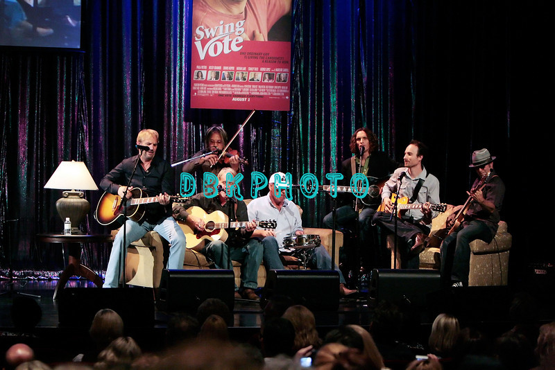 """ATLANTIC CITY, NJ - AUGUST 02:  Actor, singer, Kevin Costner and his band Modern West entertain the audience after the """"Question & Answer"""" session with his fans in the showroom at Caesars Atlantic City on August 2, 2008 in Atlantic City, New Jersey."""