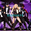 "ATLANTIC CITY, NJ - NOVEMBER 22:  Madonna and back-up dancers performs during her ""Sticky & Sweet"" tour at Boardwalk Hall on November 22, 2008 in Atlantic City, New Jersey."