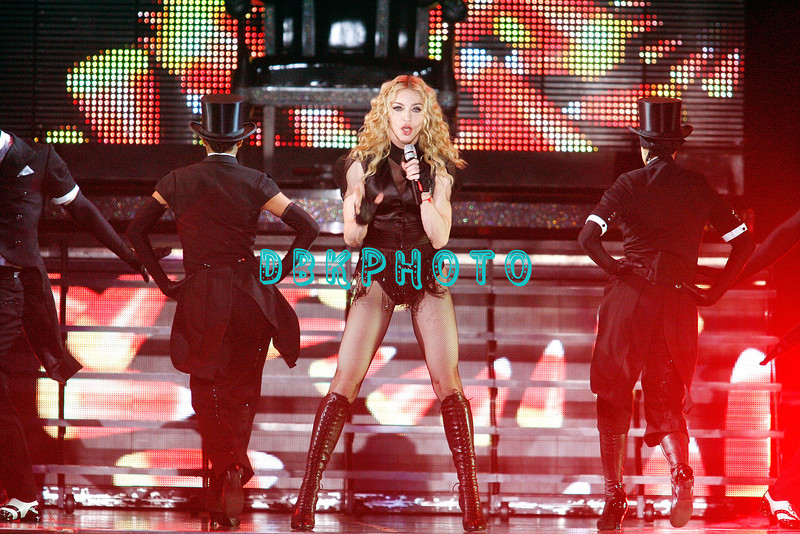 "ATLANTIC CITY, NJ - NOVEMBER 22:  Madonna and back-up dancers performs during her ""Sticky & Sweet"" tour at Boardwalk Hall on November 22, 2008 in Atlantic City, New Jersey"