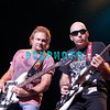 ATLANTIC CITY, NJ - AUGUST 22:  Bassist Michael Anthony (L) and Guitarist Joe Satrian of the band Chickenfoot performs at the House of Blues on August 22, 2009 in Atlantic City, New Jersey.
