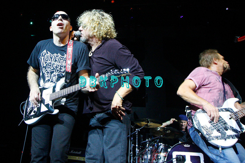 ATLANTIC CITY, NJ - AUGUST 22:  Guirtarist  Joe Satriani (L) , lead singer Sammy Hagar  and Bassist Michael Anthony of the band Chickenfoot performs at the House of Blues on August 22, 2009 in Atlantic City, New Jersey.