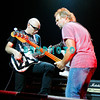 ATLANTIC CITY, NJ - AUGUST 22:  Guirtarist  Joe Satriani (L) and Bassist Michael Anthony of the band Chickenfoot performs at the House of Blues on August 22, 2009 in Atlantic City, New Jersey.
