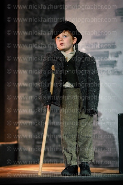 Wigan Little Theatre's production of A Christmas Carol.<br /> James Kellett as Tiny Tim.  Picture by Nick Fairhurst.