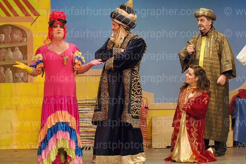 Mrs Sinbad, played by Bill Collins, left, Rancid Al Raschid, Peter Hall, Princess Jamine, Helen Kernot, sister of 'Cutting It' actress Lucy Gaskell, and Jafar, played by Laurence Wilson, in Wigan Little Theatre's pantomime 'Sinbad The Sailor'.  Picture by Nick Fairhurst.