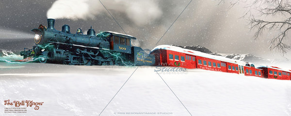"""THE HOLLY EXPRESS TRAVELS HOME 8""""x20"""" A scene from Robert A. Brubaker's award-winning picture book, The Bell Ringer. www.thebellringerbook.com ©2010-2012 Robert A. Brubaker - Resonant Image Studios - All Rights Reserved  NOTE: WATERMARK WILL BE REMOVED FROM ALL PURCHASED ITEMS."""