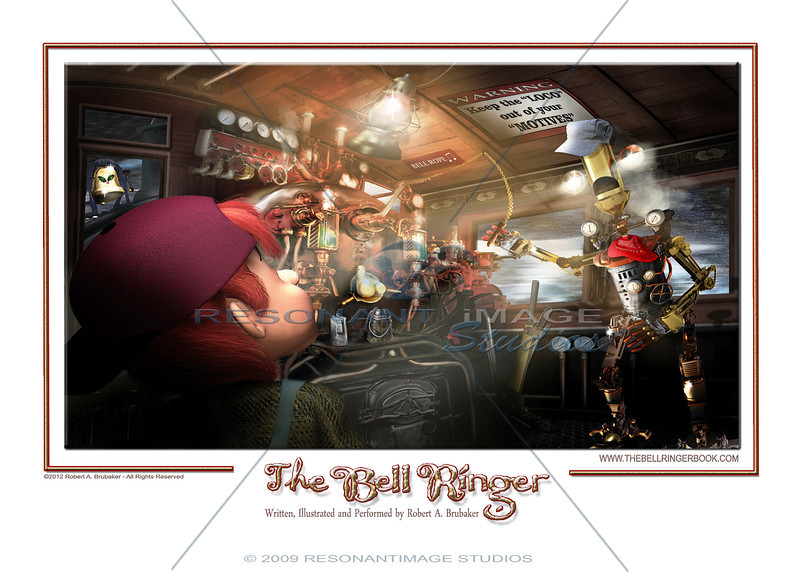 """STEAM WHISTLE EDDIE - ENGINEERED FOR TIME TRAVEL<br /> A scene from Robert A. Brubaker's award-winning picture book, The Bell Ringer.  <a href=""""http://www.thebellringerbook.com"""">http://www.thebellringerbook.com</a><br /> ©2010-2012 Robert A. Brubaker - Resonant Image Studios - All Rights Reserved<br /> <br /> NOTE: WATERMARK WILL BE REMOVED FROM ALL PURCHASED ITEMS."""