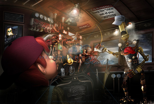"""STEAM WHISTLE EDDIE - ENGINEERED FOR TIME TRAVEL """"20x30"""" A scene from Robert A. Brubaker's award-winning picture book, The Bell Ringer. www.thebellringerbook.com ©2010-2012 Robert A. Brubaker - Resonant Image Studios - All Rights Reserved  NOTE: WATERMARK WILL BE REMOVED FROM ALL PURCHASED ITEMS."""