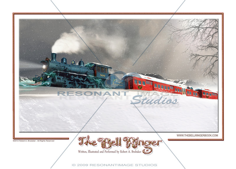 """THE HOLLY EXPRESS TRAVELS HOME<br /> A scene from Robert A. Brubaker's award-winning picture book, The Bell Ringer.  <a href=""""http://www.thebellringerbook.com"""">http://www.thebellringerbook.com</a><br /> ©2010-2012 Robert A. Brubaker - Resonant Image Studios - All Rights Reserved<br /> <br /> NOTE: WATERMARK WILL BE REMOVED FROM ALL PURCHASED ITEMS."""