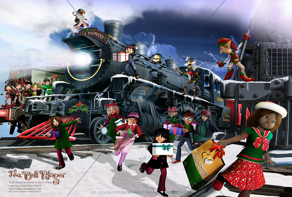 """FELLOW TRAVELERS """"20x30"""" A scene from Robert A. Brubaker's award-winning picture book, The Bell Ringer. www.thebellringerbook.com ©2010-2012 Robert A. Brubaker - Resonant Image Studios - All Rights Reserved  NOTE: WATERMARK WILL BE REMOVED FROM ALL PURCHASED ITEMS."""