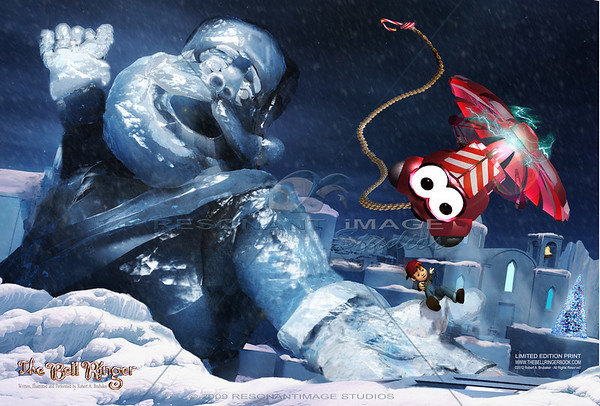 """THE SANTA CLAUS SLIDE 20""""x30"""" A scene from Robert A. Brubaker's award-winning picture book, The Bell Ringer. www.thebellringerbook.com ©2010-2012 Robert A. Brubaker - Resonant Image Studios - All Rights Reserved  NOTE: WATERMARK WILL BE REMOVED FROM ALL PURCHASED ITEMS."""
