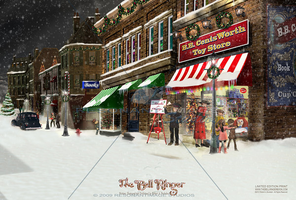 "THE TOY STORE BELL RINGER 20""x30"" A scene from Robert A. Brubaker's award-winning picture book, The Bell Ringer. www.thebellringerbook.com ©2010-2012 Robert A. Brubaker - Resonant Image Studios - All Rights Reserved  NOTE: WATERMARK WILL BE REMOVED FROM ALL PURCHASED ITEMS."