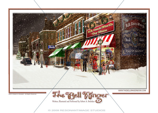 THE TOY STORE BELL RINGER A scene from Robert A. Brubaker's award-winning picture book, The Bell Ringer. www.thebellringerbook.com ©2010-2012 Robert A. Brubaker - Resonant Image Studios - All Rights Reserved  NOTE: WATERMARK WILL BE REMOVED FROM ALL PURCHASED ITEMS.