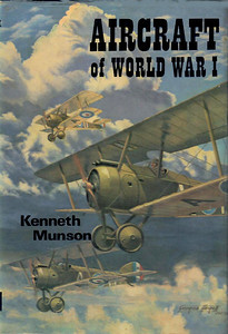 1967 Aircraft of World War I (hardback, with dust jacket), by Kenneth Munson, published November 1967, 175pp 21/-, code: 1614/430/EXX/1167, brown cover beneath dust jacket. Reprinted September 1968, code: 1614/528/DXX/968; another impression in February 1977, 183pp £2.50, ISBN 0-7110-0356-4, code: CE/0277, dark blue cover; this later impression has an additional 8 unnumbered pages of colour photos. Same cover (dust sheet) used for all issues, with a painting of Sopwith Camels in flight by George F Heiron.