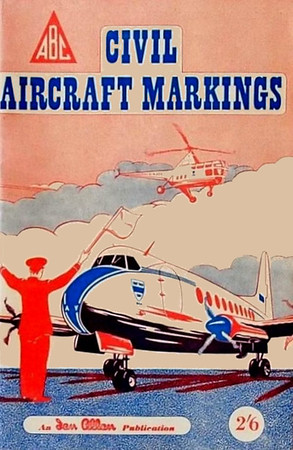 1952 Civil Aircraft Markings, 2nd edition, by J W R Taylor, published March 1952, 76pp 2/6, code: 214/65/100/352. I've got two different coloured covers here, and this is a bit of a puzzle. Points to observe in this first image:- the large text and the plane's nose colour are blue, as is the ground, and the centre of the propeller. In the second image, these are all orange. Also in the first pic, the Ian Allan logo is red, as is the helicopter, the batman's uniform, the plane's windows and wheel housing - these are all blue in the second photo. If blue fades to red, then red cannot fade to blue on the same image. I can only think that these are two distinctly different books, yet no reprints are recorded. I'm assuming the code is the same on both, but don't have a copy of the book, so I can't tell. Intriguing....