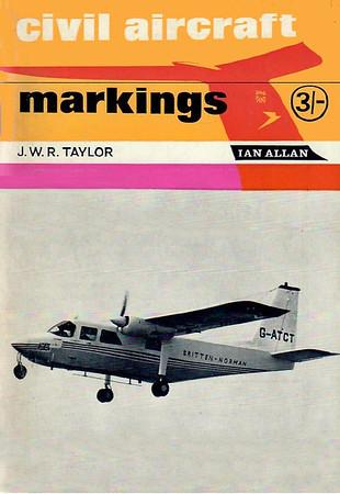 1966 Civil Aircraft Markings, 16th edition, by J W R Taylor, published January 1966, 112pp 3/-, no code.