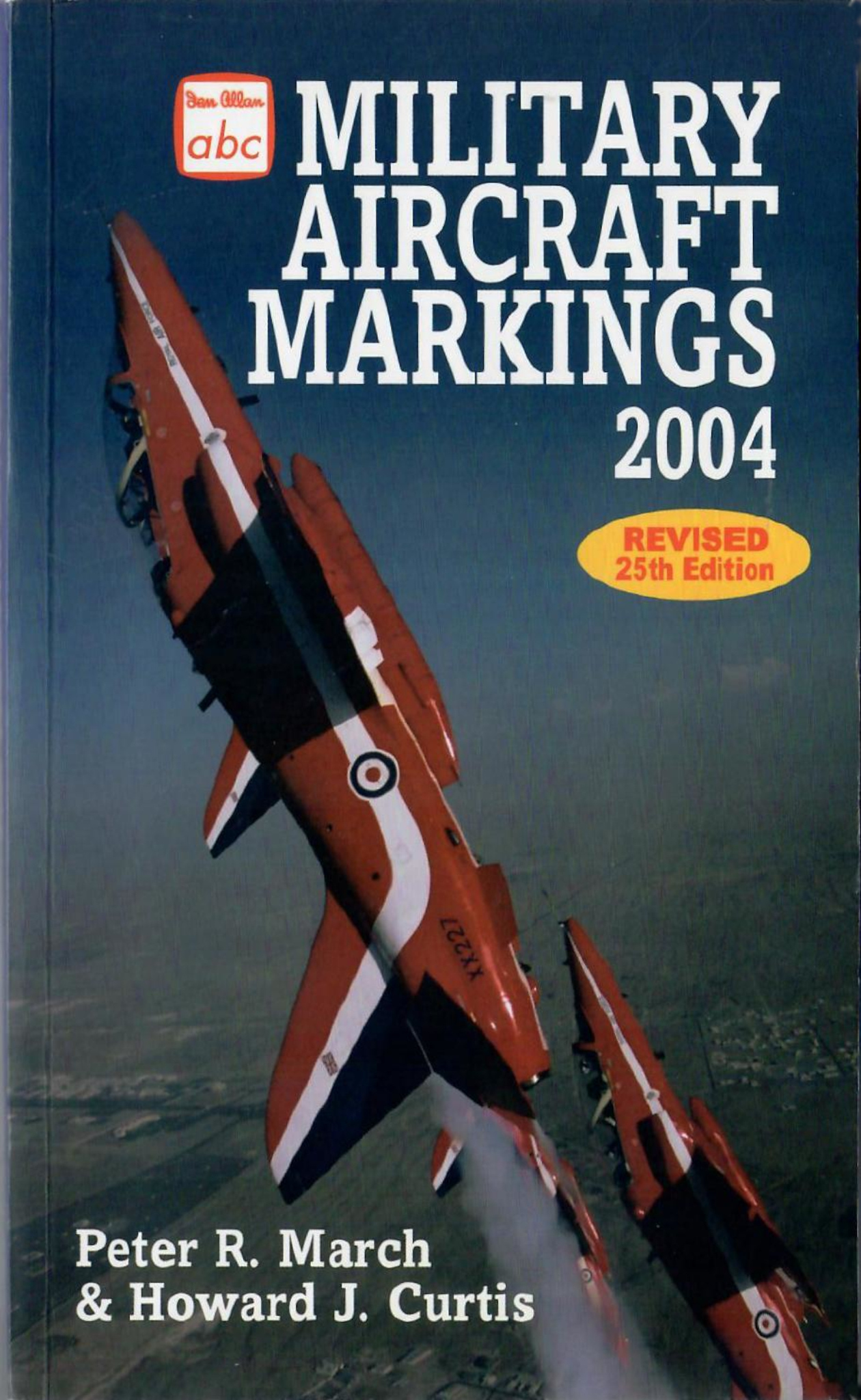 2004 Military Aircraft Markings, 25th edition, by Peter R March & Howard J Curtis, published March 2004, 208pp, ISBN 0-7110-3004-9, code: 0403/E3. This is a promo shot, with subtle differences from the published cover (see previous photo).