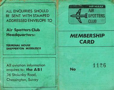 Ian Allan Air Spotters Club membership card.