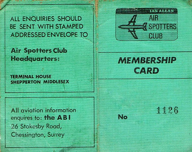 Ian Allan Air Spotters Club membership card.