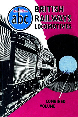 1950 British Railways Locomotives, Combined Volume. Published August 1950, 298pp 9/6, no code. The dust sheet drawing by A N Wolstenholme shows a SR N15/'King Arthur' Class 4-6-0 entering a tunnel. Oddly, a Southern Region edition wasn't produced in 1950 (although one was included in this CV), and it's highly likely that this would have been the cover if it had been, although no doubt in green. This one edition is different from all other CVs; all loco details were at the start of each regional section, each followed by a list of ONLY named locos. The locoshed section at the rear of the book listed all locos, along with their shed codes. Reissued in 2004 with a different laminated cover (see Section 012).