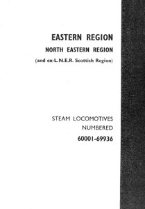 Eastern Region & North Eastern Region divider as in Winter 1957 Combined Volume (1993 reissue); all four dividers were merely photographed in monochrome for the reissue, and are all printed on regular paper, as opposed to the coloured card inserts of the original (see Section 003).