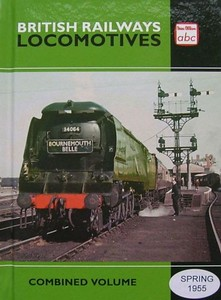"Spring 1955 (Winter 1954) Combined Volume (2014 reissue), published June 2014, 280pp £13.00, ISBN 0-7110-3799-1, no code. Cover photo of unrebuilt Bulleid 'Battle of Britain' Class Pacific 34064 ""Fighter Command"" at the head of 'The Bournemouth Belle'. This first batch of this reissue had a misprint on the front cover: 'Spring 955'. Presumably some were left after the corrected stcock was exhausted, and have been released with a sticker covering the error, as seen here."