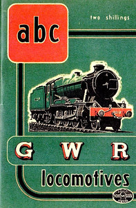 "1947 10th edtn - ABC of GWR Locomotives (marked as 7th edition (don't ask, just read the previous four captions!), published October 1947, 50pp 2/-, no code. This last pre-nationalization edition shared a uniformity in cover design with the other three (SR, LMS & LNER); in this instance, the drawing, by A N Wolstenholme, is of 'County' Class 4-6-0 1019 ""County of Merioneth"". Two variations of this book; this is the more common, the cover being dark green, The rare edition is bright green (see next photo)."