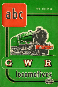 "1947 10th edtn - ABC of GWR Locomotives (marked as 7th edition (don't ask, just read the previous five captions!), published October 1947, 50pp 2/-, no code. This last pre-nationalization edition shared a uniformity in cover design with the other three (SR, LMS & LNER); in this instance, the drawing, by A N Wolstenholme, is of 'County' Class 4-6-0 1019 ""County of Merioneth"". Two variations of this book; this is the rare bright green edition. The more common version is dark green (see previous photo)."