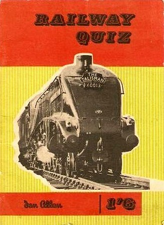 "1960 Railway Quiz, published January 1960, 32pp 1/6. Cover photo of A4 Class Pacific 60013 ""Dominion of New Zealand"". This edition appears to be yellow instead of green, this may well be a result of fading."