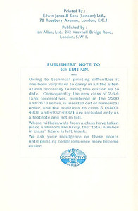 1946 6th edtn - ABC of LMS Locomotives 1946, inside of front cover, with publisher's apology for missing details owing to printing difficulties.