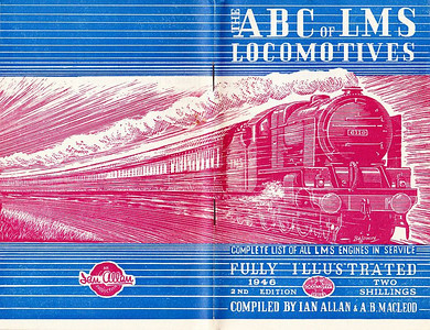 1946 7th edtn - ABC of LMS Locomotives 1946, with opened cover showing the extent of the Baldwin drawing; the opened cover emphasises the white stripe across the bottom of this edition, which was actually larger than other books by exactly the size of the stripe. Note that this cover was made of paper, not card, which was used for the previous edition.