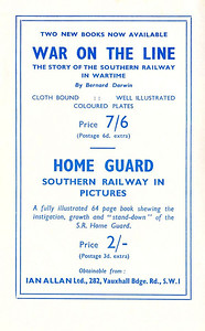 1946 7th edtn - ABC of LMS Locomotives 1946, inside of front cover, advertising 'War on the Line' and 'Home Guard'.