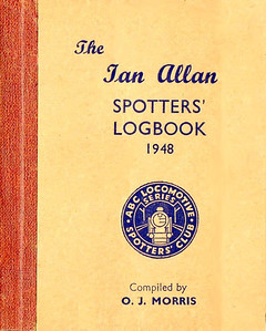 1948 Spotters Logbook, compiled by O J Morris, published January 1948, hardback, with brown GWR spine binding. No price marked, but evidence has just come to hand which points to it costing 2/4d.. First official Ian Allan Logbook, with foreward by O J Morris and Ian Allan. It's quite likely that this particular edition was produced with a spine binding in colours to match all of the 'Big Four' railways, although so far only brown and green have come to light.