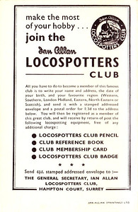 1962-1967 (?) Loco Log Book, price 1/-, rear cover #1, advertising the Ian Allan Locospotters Club.
