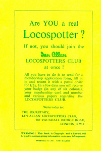 1947 Spotters Note Book, back cover, showing the advertisement for the Ian Allan Locospotters Club.