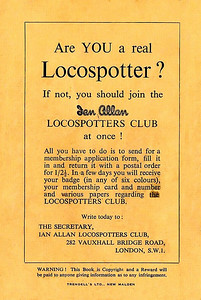 1946 Spotters Note Book, back cover, showing the advertisement for the Ian Allan Locospotters Club.