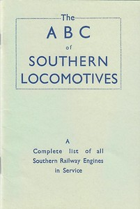 1943 ABC of Southern Locomotives (1st edition, December 1942), published 1982, 21pp 50p, code EX/82, ISBN 0-7110-1262-8. Reissue of the first ever ABC, with original cover; no photos inside. In 1982 all 'Big Four' 1st or 2nd editions were reprinted as per original.