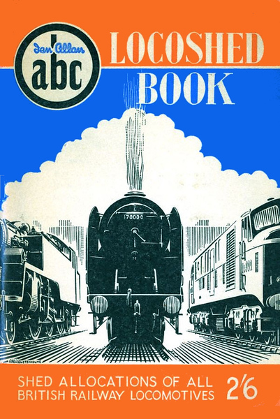 """Autumn 1955 Locoshed Book, published June 1955, 96pp 2/6, code: 471/250/655. No photos inside. A N Wolstenholme cover drawing is a front view of BR Standard Pacific 70000 """"Britannia"""". Included in 1974 reissue of Winter 1955 Combined Volume, reprinted 1976, and reissued again in 1999 (see Section 012)."""