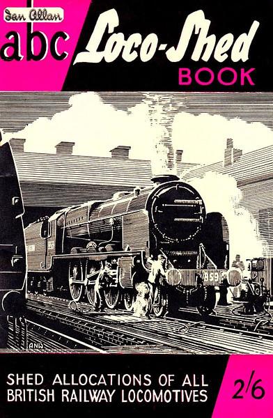 """Summer 1951 Loco-Shed Book, published July 1951, 64pp 2/6, code: 194/43/200/751. No photos inside. Both 1951 Locoshed editions were a larger format, but the normal sized books resumed in 1952. Cover drawing by A N Wolstenholme of SR 'Lord Nelson' Class 4-6-0 859 """"Lord Hood""""."""