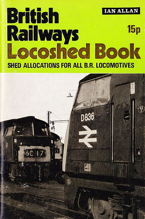 "1971 British Railways Locoshed Book, published February 1971, 80pp 15p, SBN 7110-0222-3, code: 1035/CM/471. Cover photo of 'Warship' D836 ""Onslaught"" & an unidentified 'Western'; number of pages increased to include multiple-units for the first time."