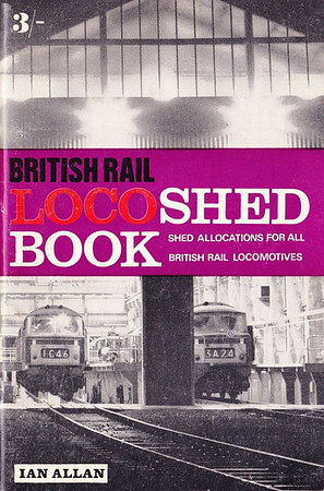 1968 British Rail Locoshed Book, published February 1968, 48pp 3/-, code: 456/CEXX/268. Cover photo of WR Hymeks in MPD. The only surviving steam now listed are the three Vale of Rheidol narrow-gauge 2-6-2Ts.