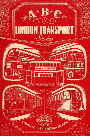 1944 ABC of London Transport Services, 1st edition, by Barrington Tatford, published December 1944, 48pp 2/-, no code. The first London Transport ABC, containing some details of LT underground locomotives & tube stock, also buses, trams & trolleybuses. Reissued with original cover in 2004 (see Section 012).