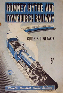 1949 Romney, Hythe & Dymchurch Railway Guide & Timetable, published April 1949, 28pp 6d, code: 70/264/100/449. A6 format (same size as regular railway ABCs); the covers, which are paper, are included in page numbering.