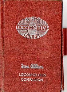 ABC Locomotive Series book holder in red, with pencil holder, c.1947-48. Hardback, cloth covered. Now with 'Ian Allan Locospotters Companion' beneath the (raised) logo on the front.