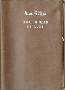 Ian Allan ABC Binder de Luxe, plastic, in WR chocolate brown, circa early to late 1950's. The earlier binders were more coarsely grained.