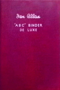 Ian Allan ABC Binder de Luxe, plastic, in maroon/purple, c.1958 onwards. Binders were usually produced in the colour of one of the six regions, maroon/purple is also rather a mystery. Later binders had a smoother finish than earlier batches.