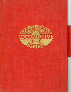 ABC Locomotive Series book holder in red, with logo in central position, with pencil holder, c.1947-48. Hardback, cloth covered.